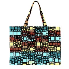Block On Block, Aqua Large Tote Bag