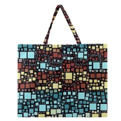 Block On Block, Aqua Zipper Large Tote Bag