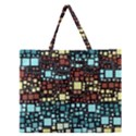 Block On Block, Aqua Zipper Large Tote Bag View1