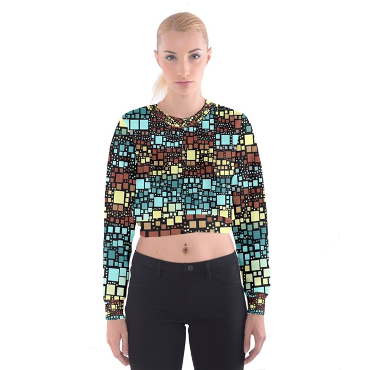 Block On Block, Aqua Women s Cropped Sweatshirt