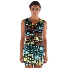 Block On Block, Aqua Wrap Front Bodycon Dress