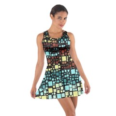 Block On Block, Aqua Cotton Racerback Dress