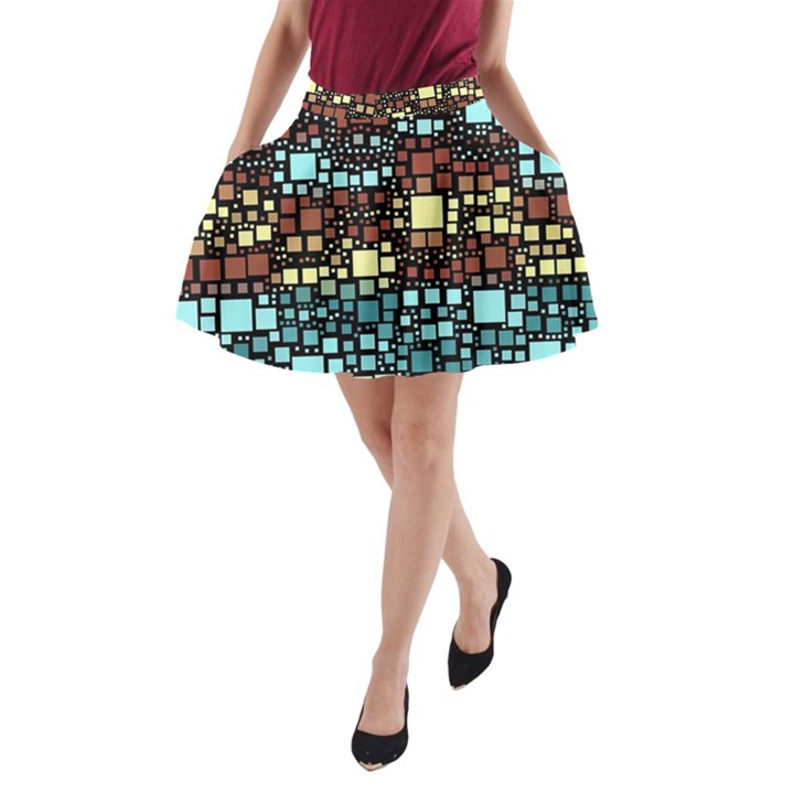 Block On Block, Aqua A-Line Pocket Skirt