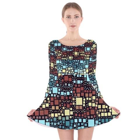 Block On Block, Aqua Long Sleeve Velvet Skater Dress