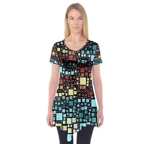 Block On Block, Aqua Short Sleeve Tunic