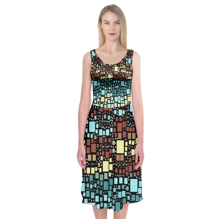 Block On Block, Aqua Midi Sleeveless Dress