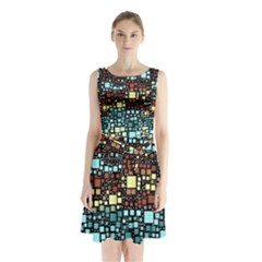 Block On Block, Aqua Sleeveless Chiffon Waist Tie Dress