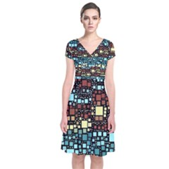 Block On Block, Aqua Short Sleeve Front Wrap Dress
