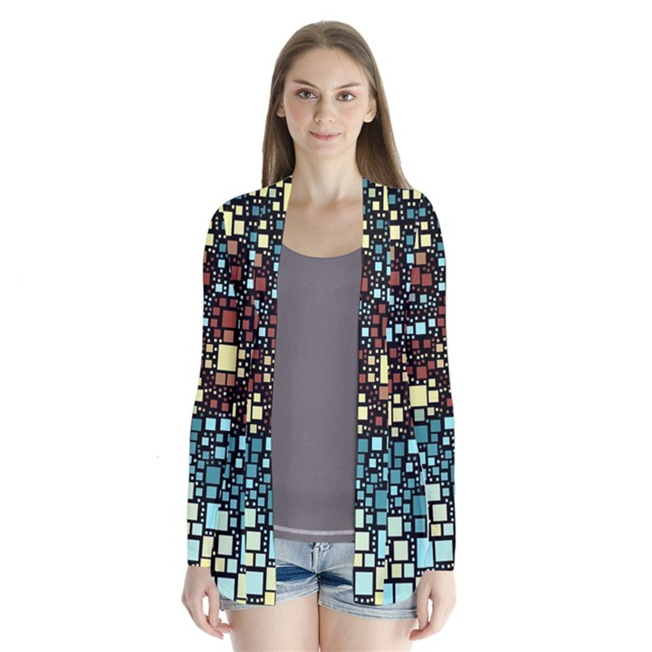 Block On Block, Aqua Drape Collar Cardigan