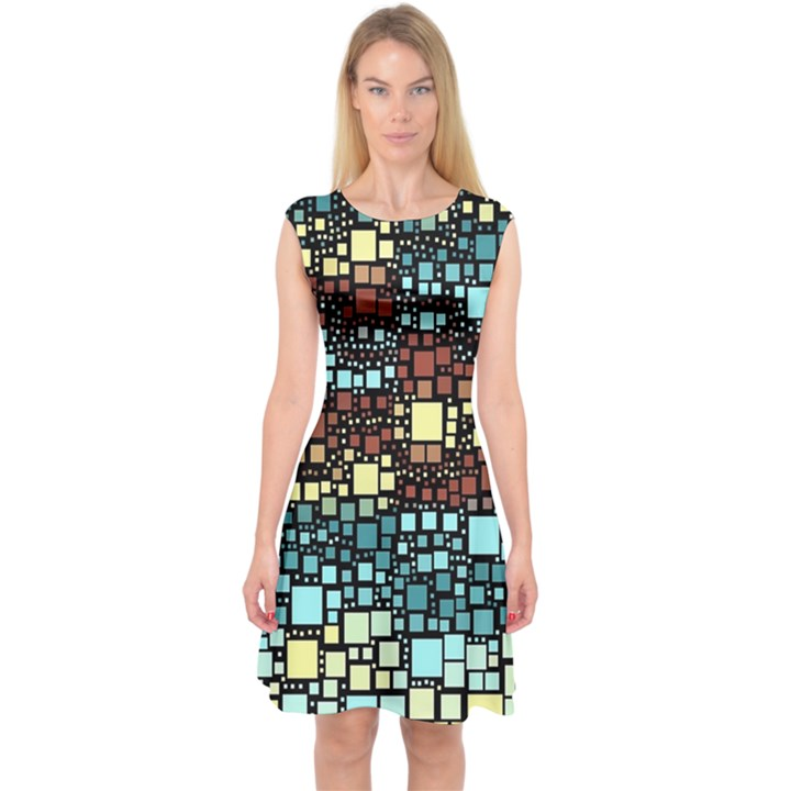 Block On Block, Aqua Capsleeve Midi Dress