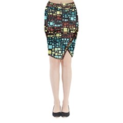 Block On Block, Aqua Midi Wrap Pencil Skirt