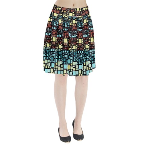 Block On Block, Aqua Pleated Skirt