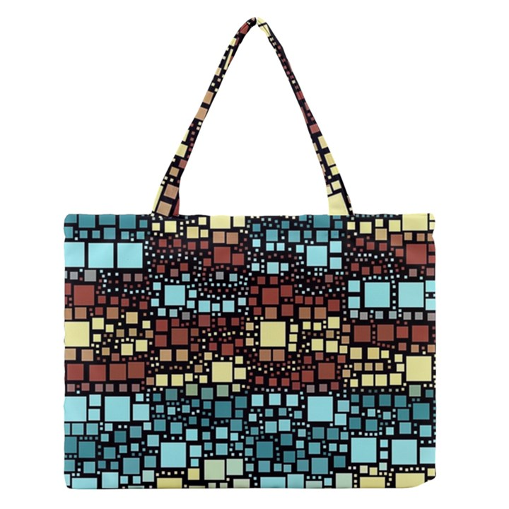 Block On Block, Aqua Medium Zipper Tote Bag