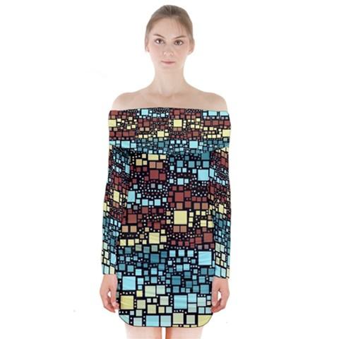 Block On Block, Aqua Long Sleeve Off Shoulder Dress