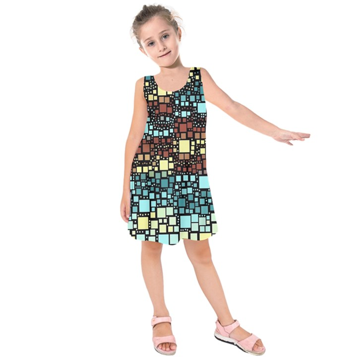 Block On Block, Aqua Kids  Sleeveless Dress