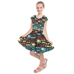 Block On Block, Aqua Kids  Short Sleeve Dress