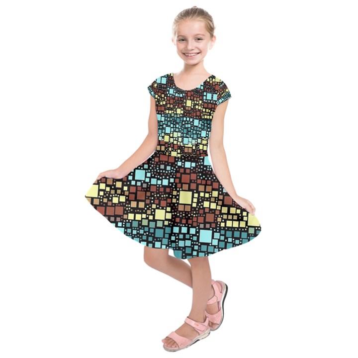 Block On Block, Aqua Kids  Short Sleeve Dress