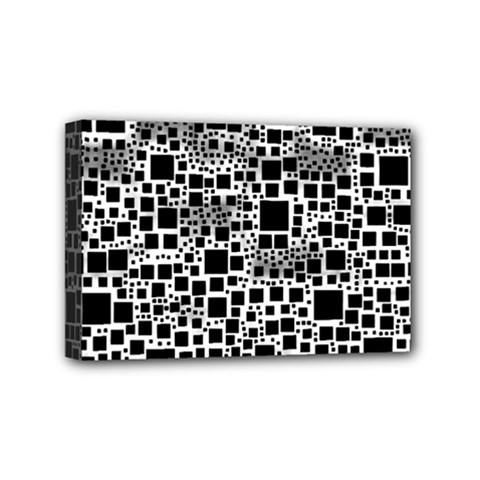 Block On Block, B&w Mini Canvas 6  x 4