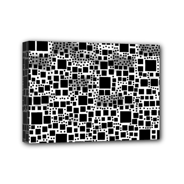 Block On Block, B&w Mini Canvas 7  x 5