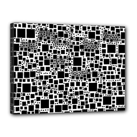 Block On Block, B&w Canvas 16  X 12