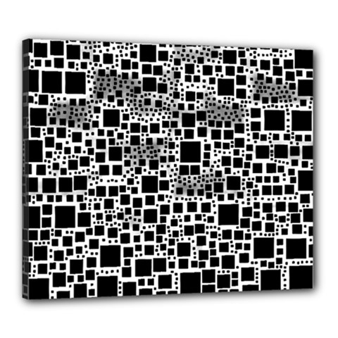 Block On Block, B&w Canvas 24  X 20