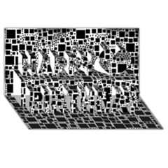 Block On Block, B&w Happy Birthday 3d Greeting Card (8x4)