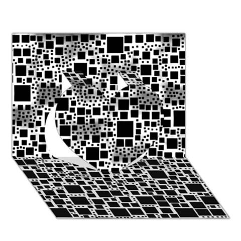Block On Block, B&w Heart 3D Greeting Card (7x5)