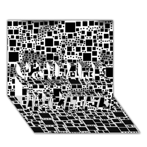 Block On Block, B&w YOU ARE INVITED 3D Greeting Card (7x5)