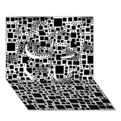Block On Block, B&w Clover 3D Greeting Card (7x5)