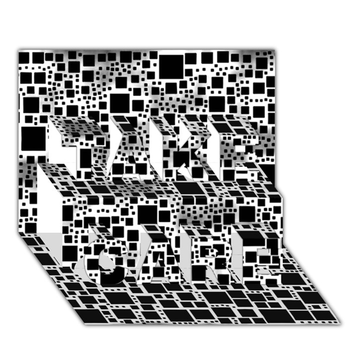 Block On Block, B&w TAKE CARE 3D Greeting Card (7x5)