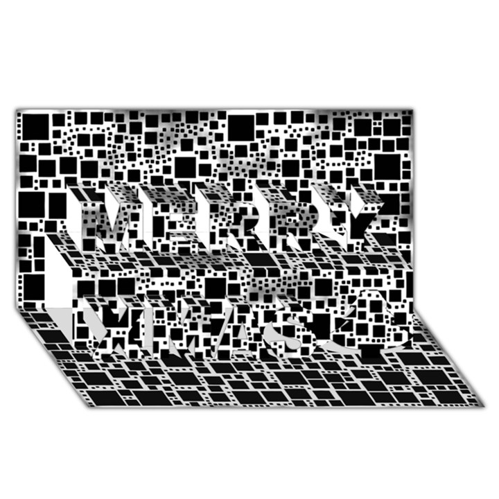 Block On Block, B&w Merry Xmas 3D Greeting Card (8x4)