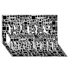 Block On Block, B&w Happy New Year 3D Greeting Card (8x4)