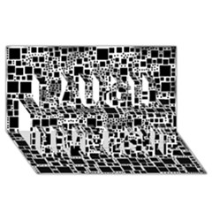 Block On Block, B&w Laugh Live Love 3D Greeting Card (8x4)