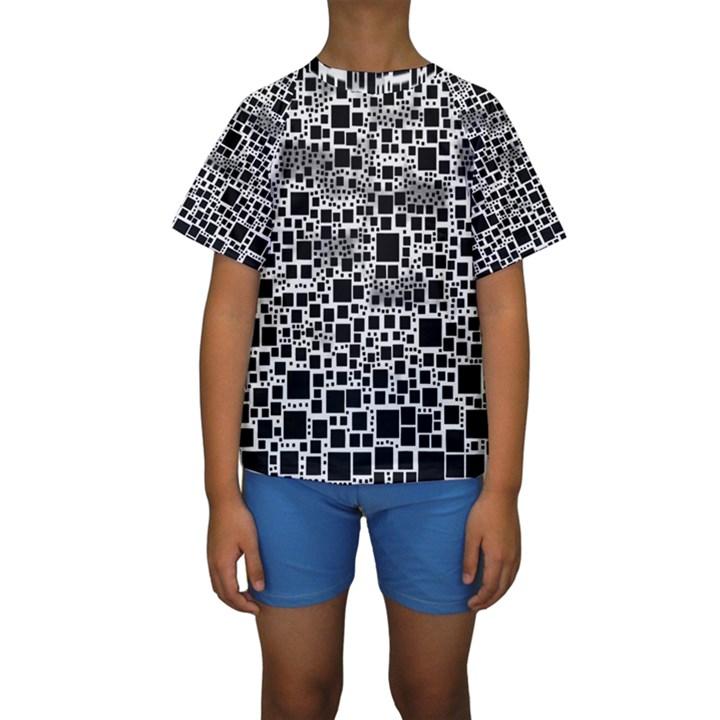 Block On Block, B&w Kids  Short Sleeve Swimwear