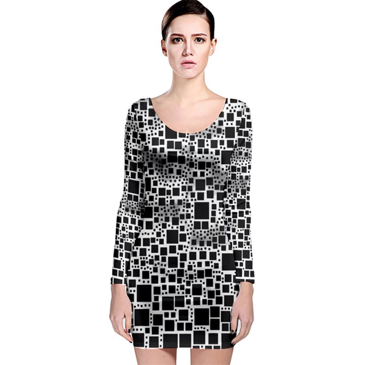 Block On Block, B&w Long Sleeve Bodycon Dress