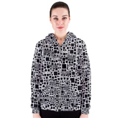 Block On Block, B&w Women s Zipper Hoodie