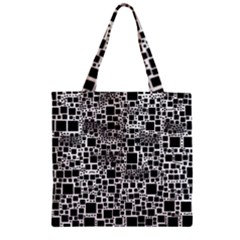 Block On Block, B&w Zipper Grocery Tote Bag