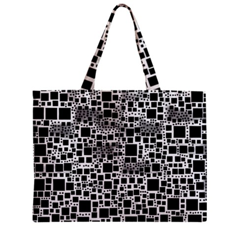 Block On Block, B&w Zipper Mini Tote Bag