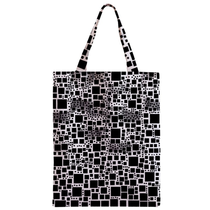 Block On Block, B&w Zipper Classic Tote Bag