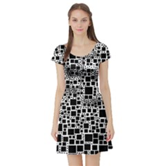 Block On Block, B&w Short Sleeve Skater Dress