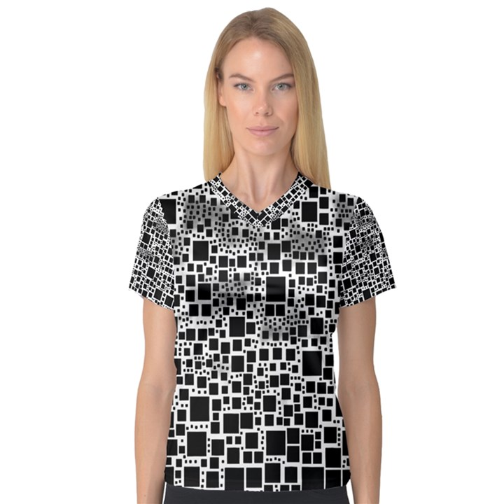 Block On Block, B&w Women s V-Neck Sport Mesh Tee