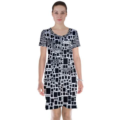 Block On Block, B&w Short Sleeve Nightdress