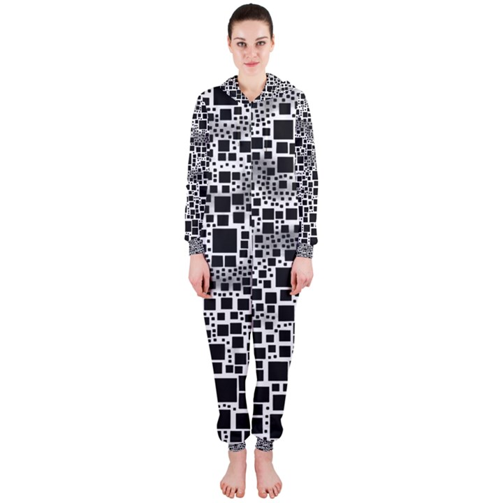 Block On Block, B&w Hooded Jumpsuit (Ladies)