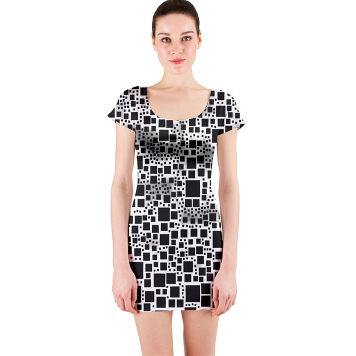 Block On Block, B&w Short Sleeve Bodycon Dress