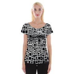 Block On Block, B&w Women s Cap Sleeve Top