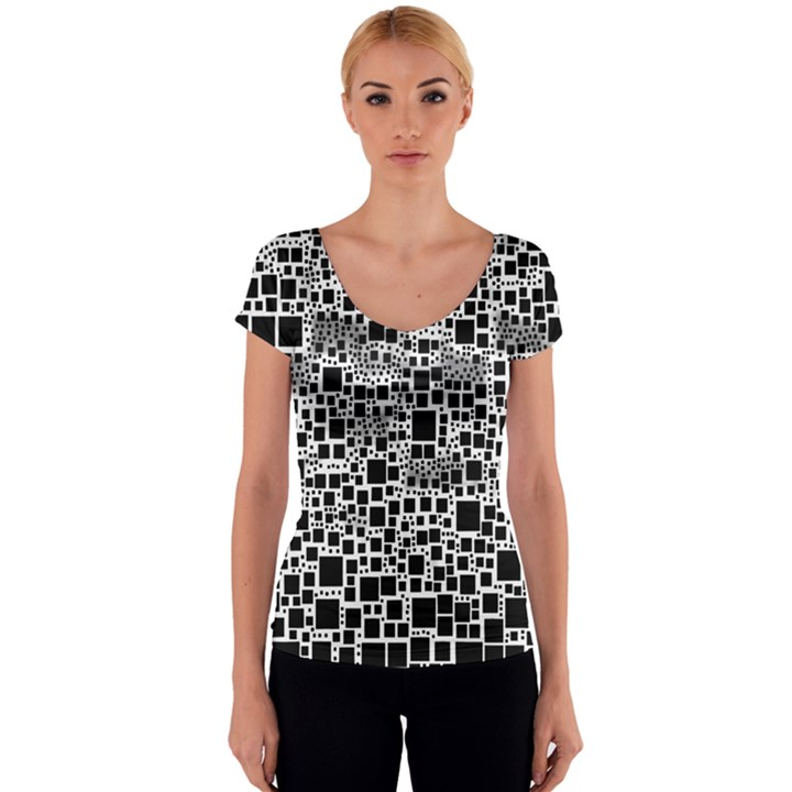 Block On Block, B&w Women s V-Neck Cap Sleeve Top