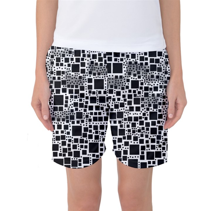 Block On Block, B&w Women s Basketball Shorts