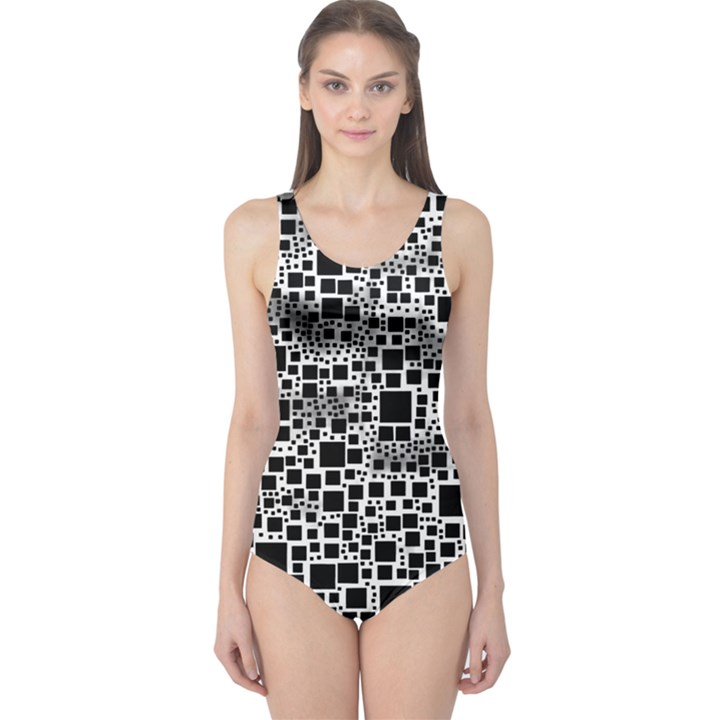 Block On Block, B&w One Piece Swimsuit