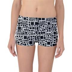 Block On Block, B&w Reversible Boyleg Bikini Bottoms