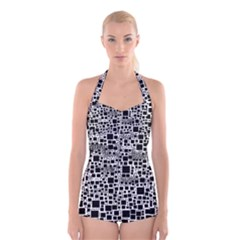 Block On Block, B&w Boyleg Halter Swimsuit
